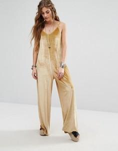 Бархатный комбинезон с широкими штанинами Glamorous - Золотой