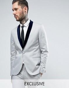 Пиджак скинни с контрастными бархатными лацканами Religion - Серый