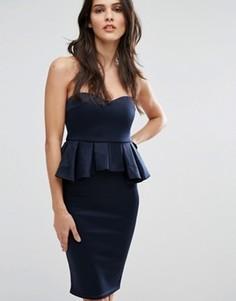 Платье миди в стиле бандо с баской AX Paris - Темно-синий