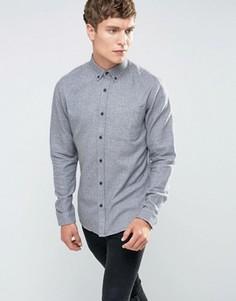 Хлопковая рубашка с начесом и контрастными манжетами Only & Sons - Серый