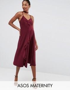 Платье миди для беременных на бретельках с оборками ASOS Maternity WEDDING - Красный