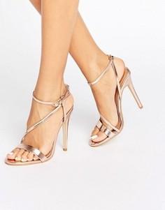 Сандалии на каблуке с перекрестными ремешками Public Desire Angeline - Золотой