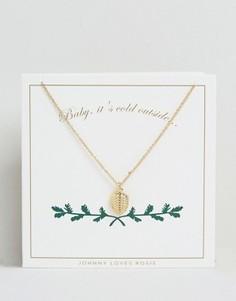 Золотистое ожерелье с подвеской в виде сосновой шишки Johnny Loves Rosie - Золотой