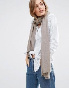 Длинный вязаный шарф Pieces - Серый