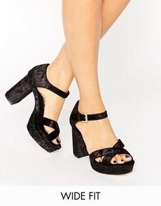 Бархатные сандалии на каблуке для широкой стопы ASOS HUMMINGBIRD - Черный