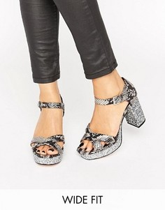 Блестящие сандалии для широкой стопы на каблуке ASOS HUMMINGBIRD - Мульти