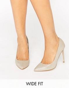 Туфли для широкой стопы на каблуке с острым носком ASOS PLAYFUL - Золотой