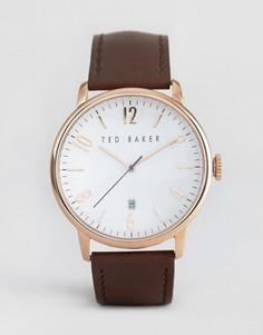 Классические часы с кожаным ремешком и корпусом цвета розового золота Ted Baker - Коричневый
