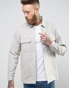 Свободная рубашка из искусственной замши на молнии ASOS - Серый