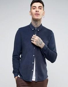 Махровая рубашка классического кроя ASOS - Темно-синий