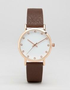 Золотисто-розовые часы с коричневым ремешком и стразами на циферблате ASOS - Рыжий