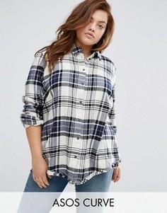 Oversize-рубашка в клетку с необработанными краями и разрезом сзади ASOS CURVE - Мульти