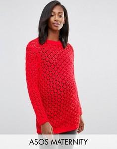 Джемпер ажурной вязки для беременных ASOS Maternity - Красный