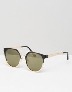 Круглые солнцезащитные очки в металлической оправе с планкой сверху ASOS - Черный