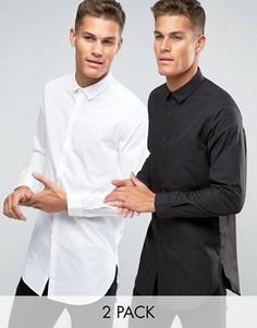 2 супердлинные рубашки (белая/черная) ASOS - СКИДКА - Мульти