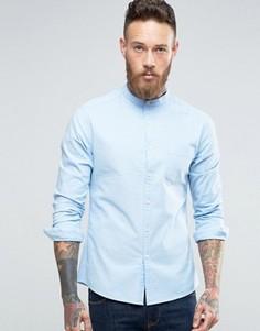 Голубая оксфордская рубашка скинни с воротом на пуговице ASOS - Синий