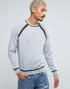 Джемпер с контрастной сеточкой на рукавах реглан и кромке ASOS - Серый