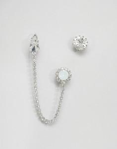 Непарные серьги с кристаллами Swarovski от Krystal - Серебряный