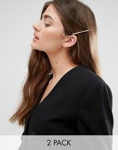 Комплект из 2 заколок для волос с простой отделкой DesignB - Золотой