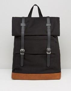 Парусиновый рюкзак с длинными ремешками и пряжками ASOS - Черный