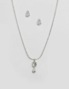 Ожерелье и серьги с кристаллами Swarovski Krystal - Серебряный