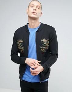 Трикотажная куртка с драконами Brave Soul - Черный