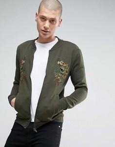 Трикотажная куртка с драконами Brave Soul - Зеленый