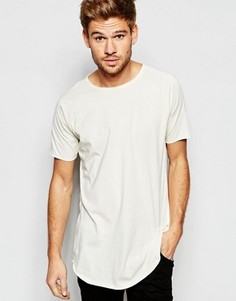 Удлиненная футболка с необработанными краями Esprit - Белый