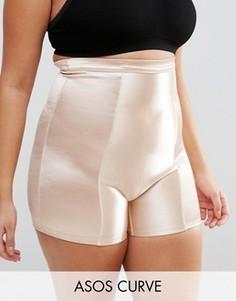 Блестящие моделирующие шорты ASOS CURVE - Бежевый
