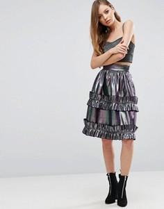 Жаккардовая юбка для выпускного цвета металлик с оборками ASOS - Мульти