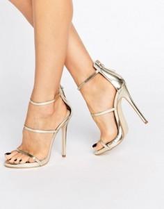 Золотистые сандалии на каблуке с ремешками Public Desire Aisha - Золотой