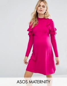 Платье-джемпер для беременных с рюшами на плечах ASOS Maternity - Розовый