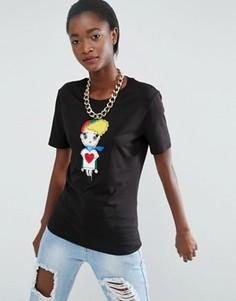 Футболка с отделкой Love Moschino Fabric Girl - Черный