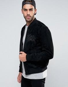 Черная замшевая куртка-пилот с вышивкой ASOS - Черный