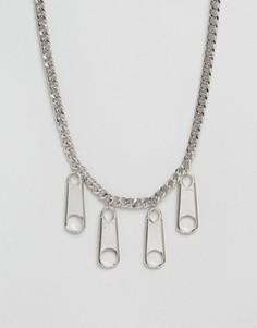 Ожерелье с молниями Cheap Monday - Серебряный