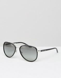 Черные очки-авиаторы с серебристой отделкой оправы Michael Kors - Черный