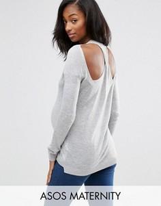 Джемпер для беременных с отделкой сзади ASOS Maternity - Серый