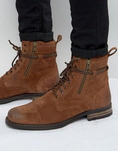 Светло-коричневые замшевые ботинки со шнурками вокруг щиколотки ASOS - Рыжий