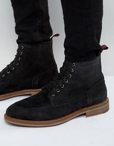 Черные замшевые ботинки со шнуровкой и декоративной строчкой на носке ASOS - Черный