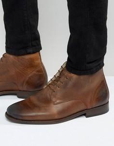 Коричневые кожаные ботинки чукка на подкладке борг ASOS - Коричневый