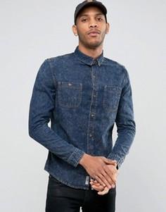 Джинсовая рубашка с эффектом кислотной стирки Bellfield - Темно-синий