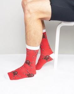 2 пары новогодних носков с принтом SSDD - Красный