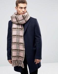 Розовый шарф в клетку из пряжи с начесом ASOS - Розовый