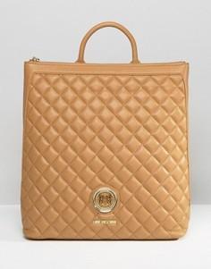 Структурированный стеганый рюкзак Love Moschino - Бежевый