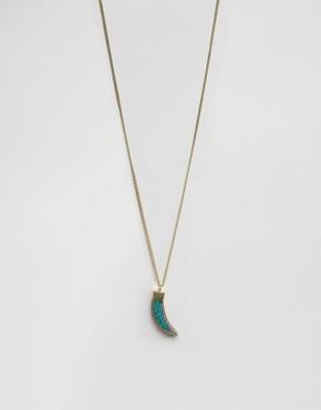 Ожерелье с подвеской в виде бирюзового клыка Raga - Золотой