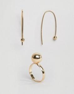 Позолоченное кольцо и серьги в наборе Pieces - Золотой