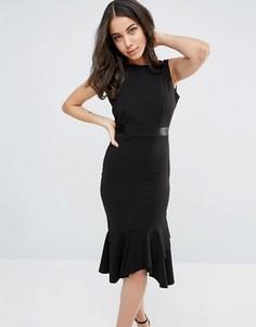 Платье миди с оборкой на кромке City Goddess - Черный