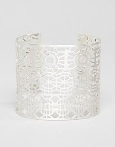 Массивный браслет-манжет с вырезом Pilgrim - Серебряный