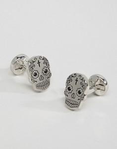 Запонки в виде черепа с камнями Noose & Monkey - Серебряный