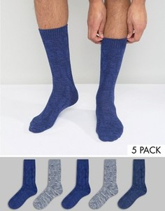 Набор из 5 пар толстых синих носков ASOS - Синий
